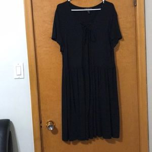 Plus size dress with strings on chest